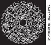 vector monochrome mandala.... | Shutterstock .eps vector #563283982