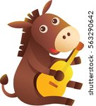 a cute donkey play the guitar... | Shutterstock .eps vector #563290642