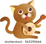 a cute cat play the guitar on a ... | Shutterstock .eps vector #563290666