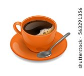 orange cup of coffee. vector... | Shutterstock .eps vector #563291356