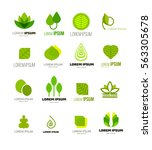 leaf logo collection isolated...   Shutterstock .eps vector #563305678
