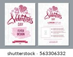 happy valentine day flyer... | Shutterstock .eps vector #563306332