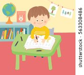cute child in school classroom... | Shutterstock .eps vector #563308486