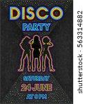 disco poster in a retro 80s...   Shutterstock .eps vector #563314882