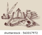 retro study and exploration... | Shutterstock .eps vector #563317972