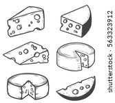 set of cheese icons isolated on ... | Shutterstock .eps vector #563323912