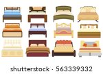 set icons furniture double bed... | Shutterstock .eps vector #563339332
