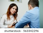 young businesspeople working... | Shutterstock . vector #563342296