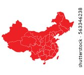 red map of china | Shutterstock .eps vector #563346238