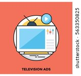 television ads vector icon | Shutterstock .eps vector #563350825