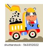 zebra a truck driver vector...   Shutterstock .eps vector #563352022