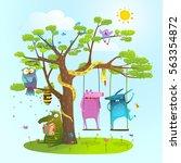 cute summer animals friends... | Shutterstock .eps vector #563354872