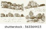 rural landscape. hand drawn set.   Shutterstock .eps vector #563364415
