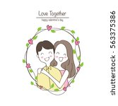 couple in love  hand draw ... | Shutterstock .eps vector #563375386