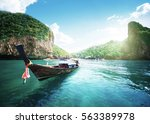 boat on the beautiful sea  phi... | Shutterstock . vector #563389978