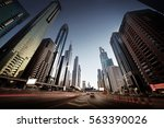 sheikh zayed road in sunset... | Shutterstock . vector #563390026
