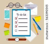 clipboard with to do list... | Shutterstock .eps vector #563390545