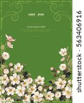 postcard with jasmine flowers ... | Shutterstock .eps vector #563406916