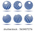 abstract blue globes | Shutterstock .eps vector #563407276