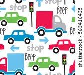 seamless car cartoon pattern... | Shutterstock .eps vector #563416435