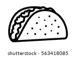 taco with tortilla shell... | Shutterstock .eps vector #563418085