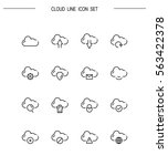 cloud flat icon set. collection ... | Shutterstock .eps vector #563422378