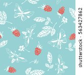 raspberry. seamless pattern.... | Shutterstock .eps vector #563427862