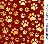 paw print seamless. traces of... | Shutterstock .eps vector #563442772