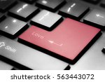 grey keyboard with red enter... | Shutterstock . vector #563443072