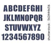 textured vintage font. denim... | Shutterstock .eps vector #563444656