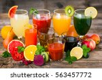 fruit and vegetables juices and ... | Shutterstock . vector #563457772