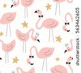 seamless flamingo pattern... | Shutterstock .eps vector #563462605
