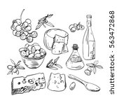 set of hand drawn food olive... | Shutterstock .eps vector #563472868