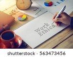 man hand writing word work... | Shutterstock . vector #563473456