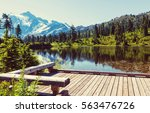 scenic picture lake with mount... | Shutterstock . vector #563476726