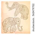 Indian Elephant In Doodle Styl...