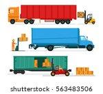 big lorries loading stuff at...   Shutterstock .eps vector #563483506