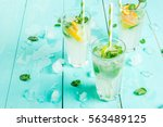 selection of summer refreshing...   Shutterstock . vector #563489125