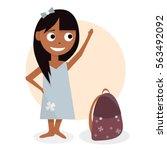 schoolgirl with the briefcase.... | Shutterstock .eps vector #563492092
