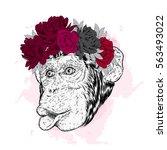 funny monkey flower wreath.... | Shutterstock .eps vector #563493022