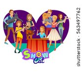 card show cats in the shape of...   Shutterstock .eps vector #563497762