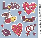 pack of love stickers with... | Shutterstock .eps vector #563507182