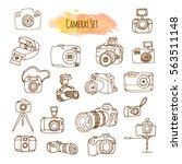 photo cameras hand drawn...   Shutterstock .eps vector #563511148