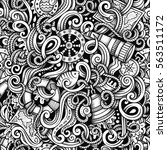 cartoon hand drawn doodles... | Shutterstock .eps vector #563511172