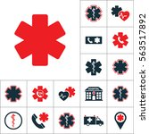 life star icon  medical set on... | Shutterstock .eps vector #563517892