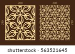 laser cutting set. woodcut... | Shutterstock .eps vector #563521645