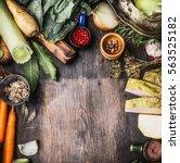 raw organic vegetables... | Shutterstock . vector #563525182