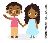 african american girl and young ... | Shutterstock .eps vector #563528986