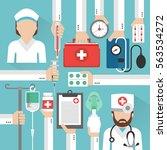 healthcare flat design card... | Shutterstock .eps vector #563534272