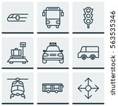set of 9 transport icons.... | Shutterstock .eps vector #563535346